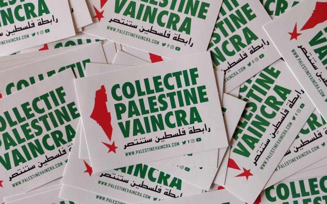 Affiche et autocollant génériques du Collectif Palestine Vaincra