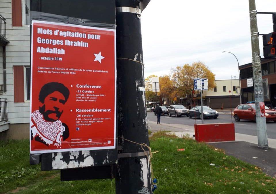 23 Octobre : Conférence sur Georges Abdallah à Montréal avec le Collectif Palestine Vaincra