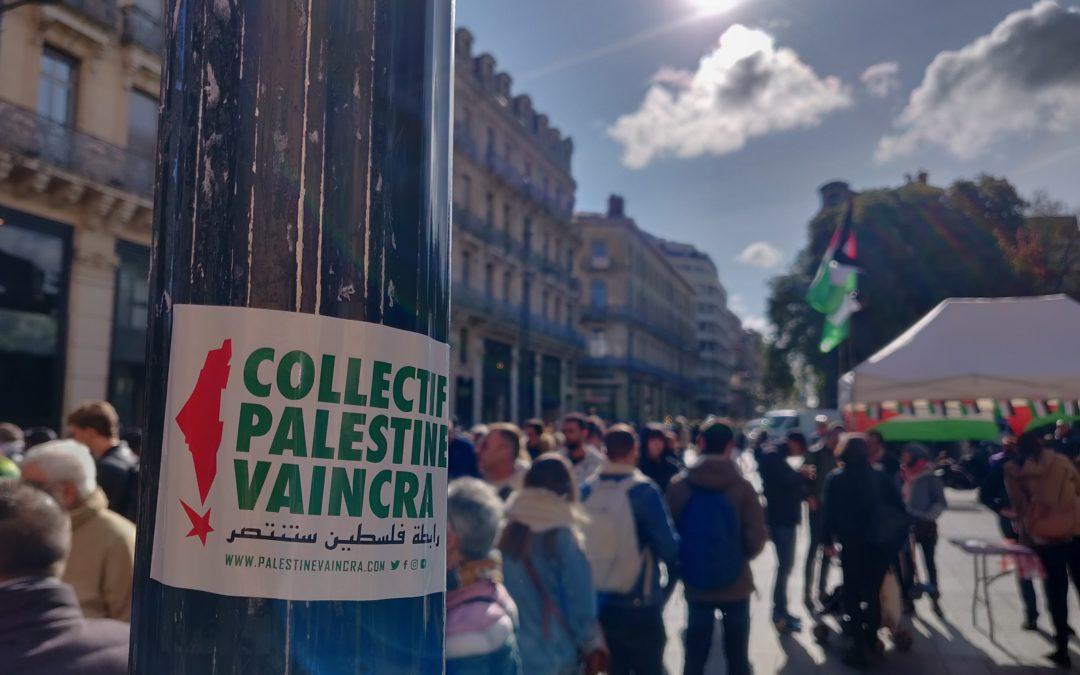 La solidarité avec Khalida Jarrar, Samer Arbeed et tous les prisonniers palestiniens lors d'un nouveau Stand Palestine à Toulouse