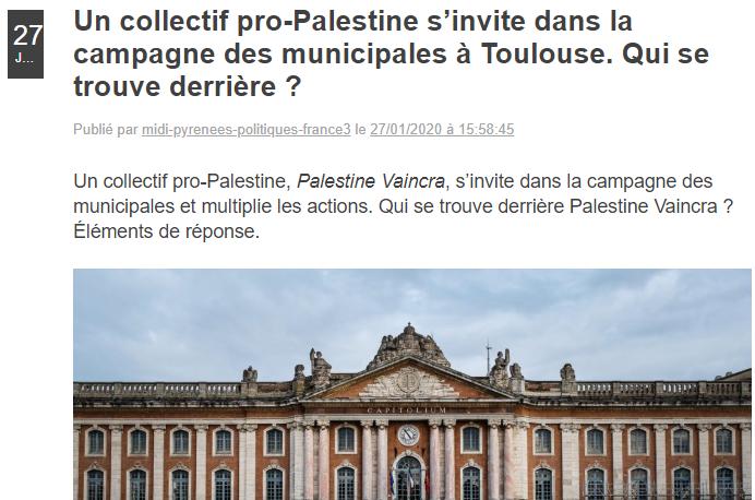 Un article d'un journaliste de France 3 calomnie le Collectif Palestine Vaincra