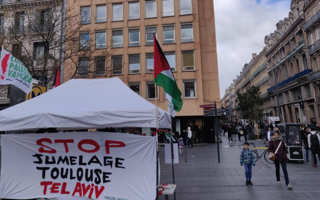 Un Stand Palestine au Capitole pour dire stop au jumelage de Toulouse avec Tel Aviv