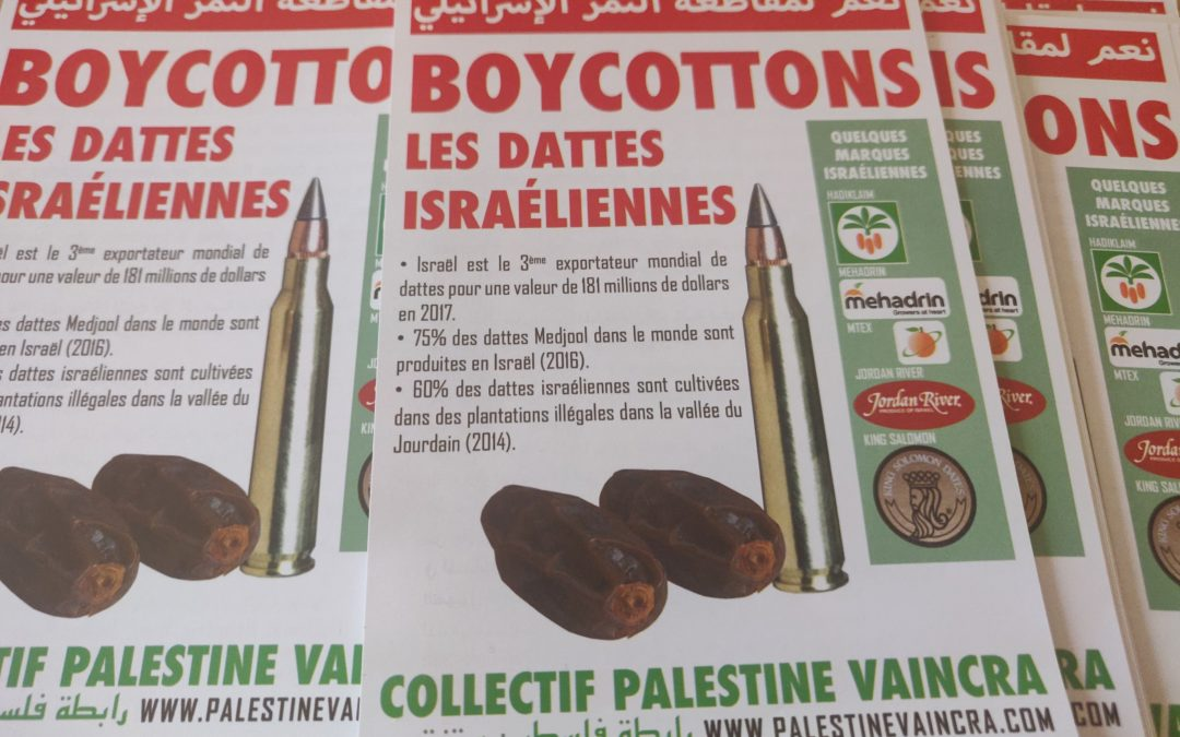 Flyers : «Boycottons les dattes israéliennes»