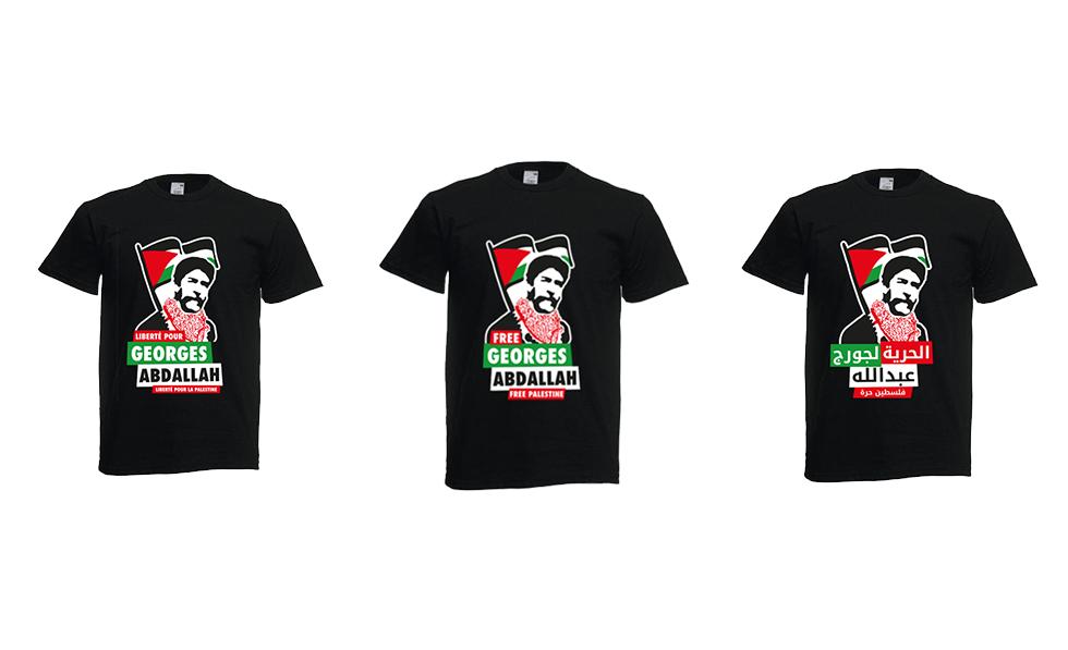 Commandez notre t-shirt «Liberté pour Georges Abdallah – Liberté pour la Palestine»