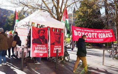 En centre-ville de Toulouse, un Stand Palestine en soutien à la libération d'Ahmad Sa'adat