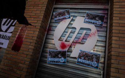 Action à Toulouse pour le boycott de Hewlett Packard, entreprise complice de l'apartheid israélien