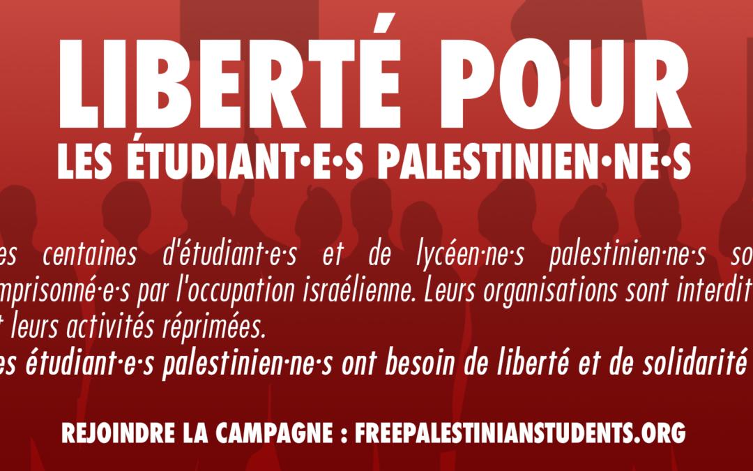 Lancement de la campagne internationale pour la libération des étudiant·e·s palestinien·ne·s