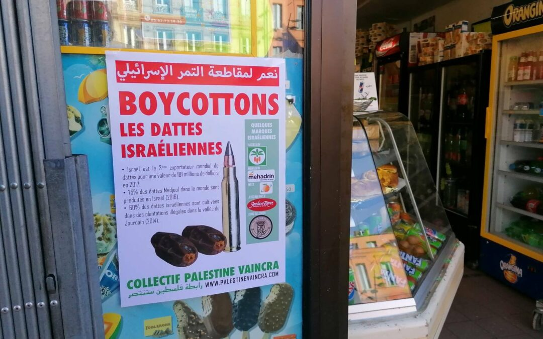 09 Avril : Stand Palestine «Boycottons les dattes israéliennes»