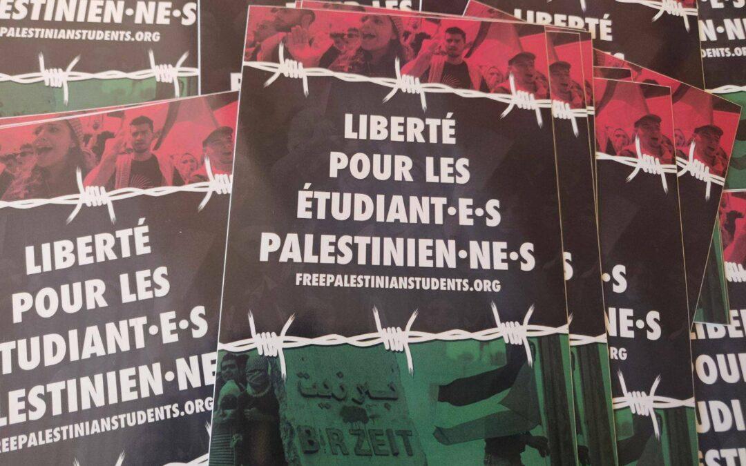 Autocollant «Liberté pour les étudiants palestiniens»