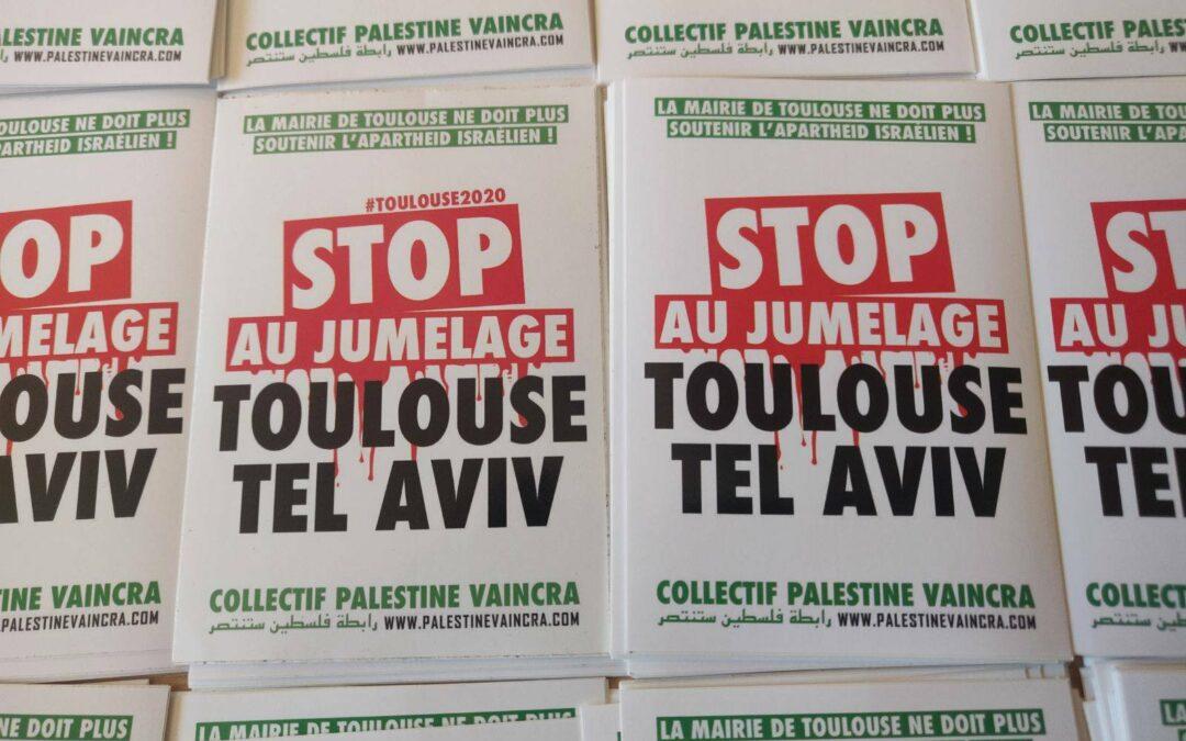 Autocollant «Stop au jumelage Toulouse Tel-Aviv»
