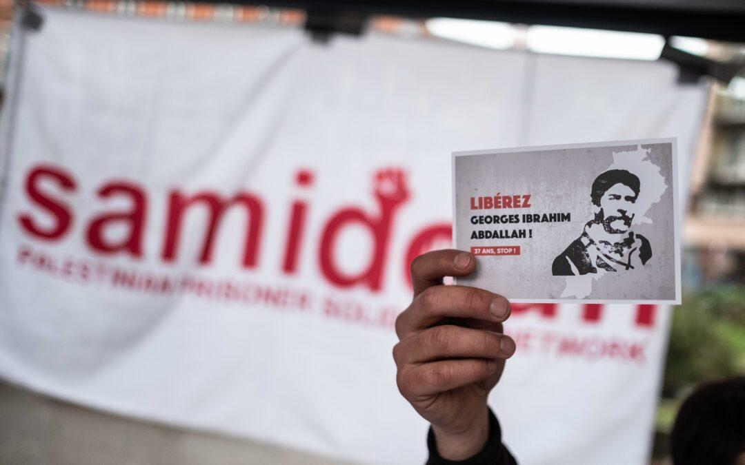 Lors du 1er Mai 2021 à Toulouse, action de solidarité pour la libération de Georges Abdallah