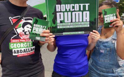 A Toulouse, la campagne #BoycottPuma se poursuit contre les complices de l'apartheid israélien