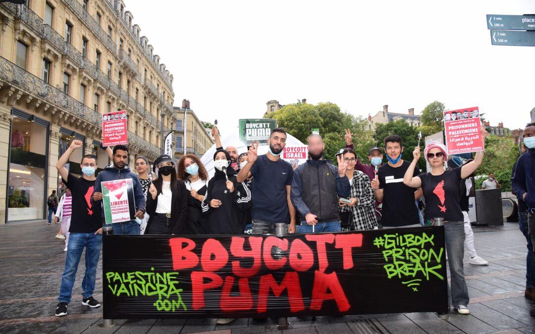A Toulouse, mobilisation réussie pour la campagne #BoycottPuma et en soutien aux prisonniers palestiniens