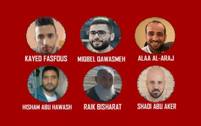 Six prisonniers palestiniens en grève de la faim continuent de lutter contre la détention administrative