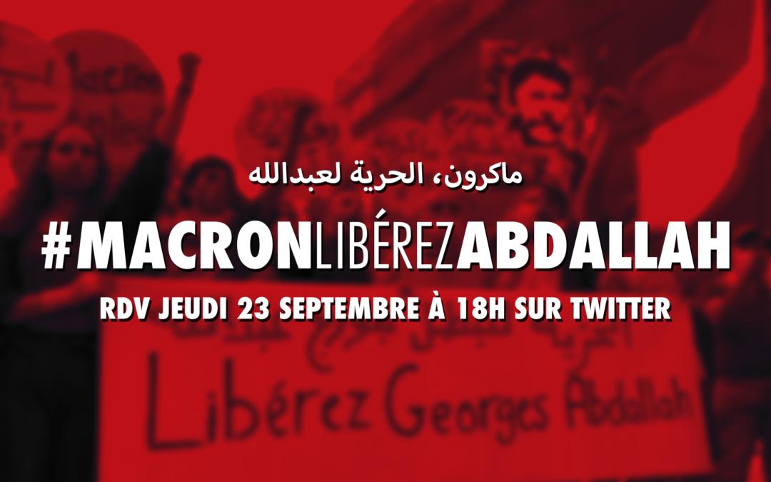 Jeudi 23 septembre à 18H, rejoignez le twitterstorm #MacronLibérezAbdallah à l'occasion de la rencontre de Macron avec Mikati