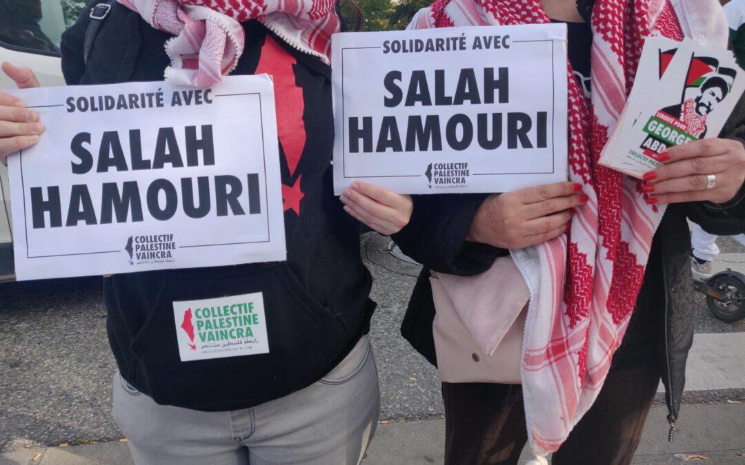 Solidarité avec Salah Hamouri et Georges Abdallah lors d'un Stand Palestine au marché de Bagatelle à Toulouse